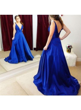 Elegant A Line Elastic Satin Royal Blue Deep V Neck Long Prom Dresses 2021