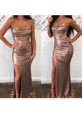 2020 Charming Sheath Strapless Sweetheart Rose Gold Side Slit Sequence Long Prom Dresses