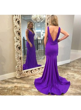 2020 Charming Purple Sweetheart Sheath Backless Long Prom Dresses