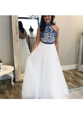 2019 Elegant A Line Lace Up Back White High Neck Tulle Embroidery Prom Dresses