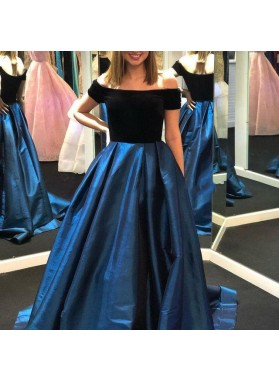 2020 New Arrival A Line Off Shoulder Satin Black And Navy Blue Long Prom Dresses