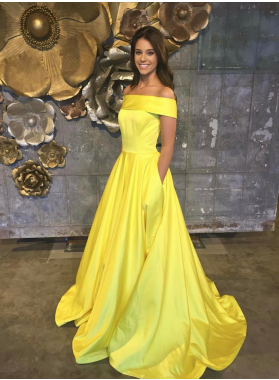 Elegant A Line Satin Yellow Off Shoulder Long Prom Dresses With Pockets