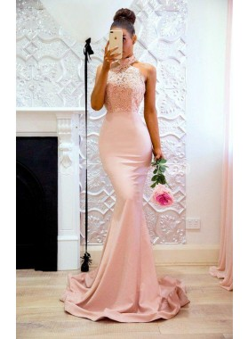 2020 Sexy Mermaid Pink High Neck Backless Satin Long Prom Dresses With Appliques