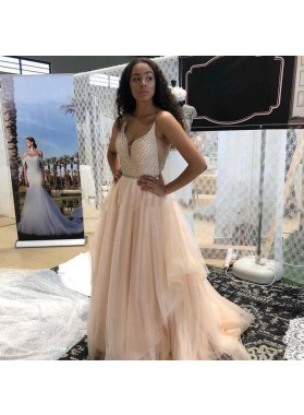 2020 New Arrival A Line Pleated Tulle Sweetheart Beaded Peach Long Prom Dresses