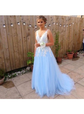 Elegant A Line Tulle Blue And White Appliques V Neck Long Prom Dresses 2021