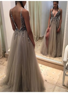Sexy A Line Tulle Backless V Neck Gray Beaded Side Slit Long Prom Dresses 2021
