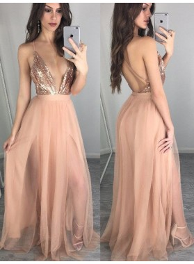 Cheap A Line Deep V Neck Halter Dusty Rose Tulle Side Slit Backless Prom Dresses 2019
