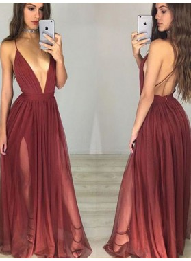 Charming A Line Burgundy Deep V Neck Backless Side Slit Halter 2019 Prom Dresses