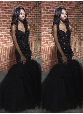 2020 Sexy Black Sweetheart Tulle Beaded African American Long Prom Dresses