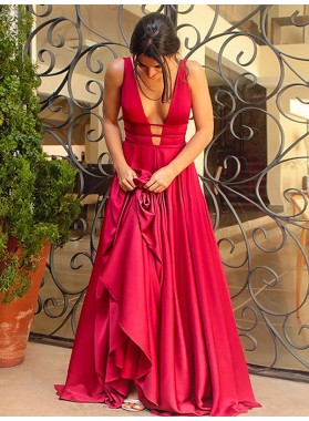 Cheap A Line Elastic Satin Red Backless V Neck Long Prom Dresses 2021