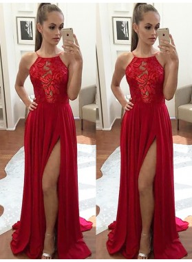 Charming Red A Line Elastic Satin Side Slit Halter Lace Backless Prom Dresses 2021