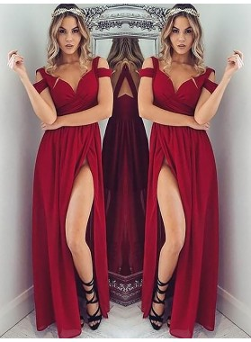 2021 Cheap A Line Sweetheart Off Shoulder Burgundy Side Slit Prom Dresses