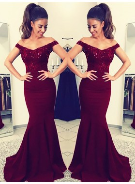 Charming Burgundy Off Shoulder Elastic Satin Long Mermaid Lace Prom Dresses 2021
