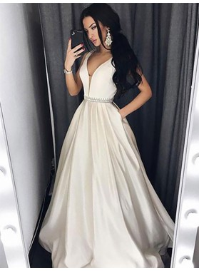 2021 Elegant A Line Satin White V Neck Beaded Sash Prom Dresses