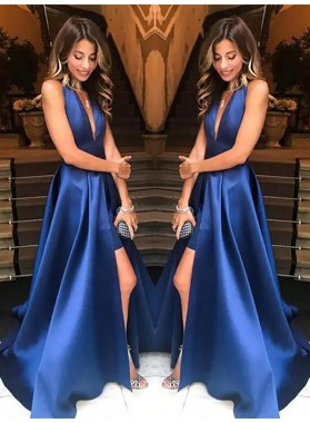 2021 New Arrival Satin A Line Royal Blue Side Slit V Neck Backless Long Prom Dresses