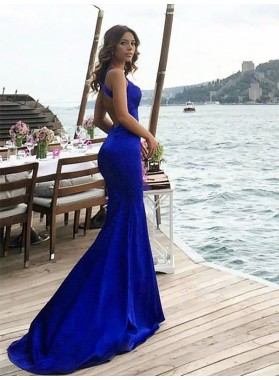 Sexy Royal Blue Mermaid Backless Criss Cross Long Prom Dresses 2021