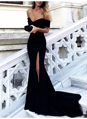 2021 Sexy Black Sheath Side Slit Off Shoulder Sweetheart Long Prom Dresses