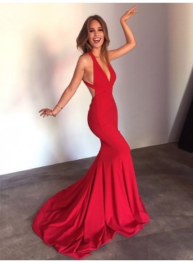 2020 Sexy Red Mermaid Backless V Neck Criss Cross Long Prom Dresses