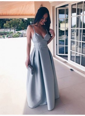 2021 Elegant A Line Sweetheart Spaghetti Straps Light Sky Blue Backless Prom Dresses