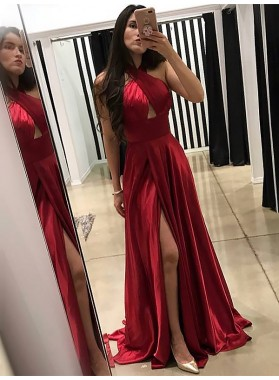 2021 Charming A Line Red Elastic Satin Side Slit Halter Backless Long Prom Dresses