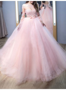 2020 Amazing Long Sleeves Tulle Pink See Through Ball Gown Prom Dresses With Appliques