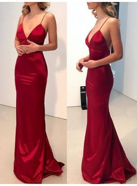 Charming Red Sheath Sweetheart Spaghetti Straps Backless Prom Dresses 2020