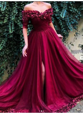 2021 New Arrival A Line Tulle Burgundy Off Shoulder Short Sleeves Floral Prom Dresses