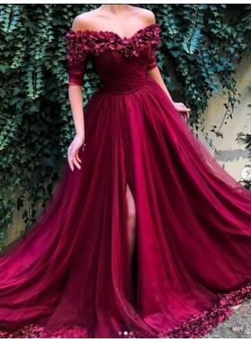 2019 New Arrival A Line Tulle Burgundy Off Shoulder Short Sleeves Floral Prom Dresses