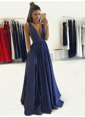 2020 Cheap A Line Navy Blue Deep V Neck Satin Prom Dresses