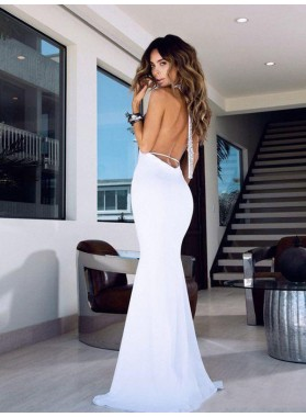 2021 Sexy White Stretchy Sheath Backless Halter Long Prom Dresses