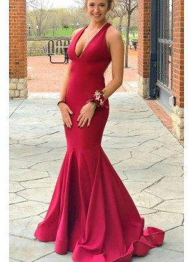 2020 Sexy Red Mermaid Halter V Neck Backless Satin  Long Prom Dresses