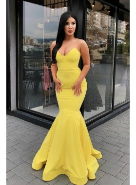 2021 Sexy Satin Mermaid Yellow Sweetheart Satin Prom Dresses