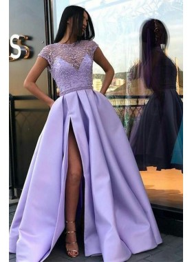 2019 Newly A Line Satin Lavender Side Slit Capped Sleeves Beaded Prom Dresses
