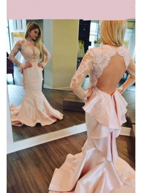 2021 Charming Mermaid Satin Pearl Pink Backless Long Sleeves Lace Lace Prom Dresses
