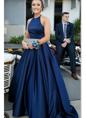2021 Elegant A Line Satin Dark Navy Sleeveless Long Plain Prom Dresses