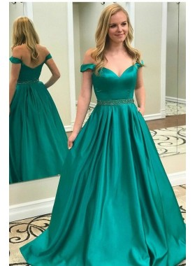 2021 Elegant A Line Satin Jade Off Shoulder Sweetheart Long Prom Dresses