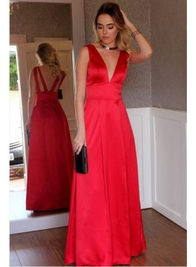 2021 Cheap A Line Red Deep V Neck Satin Floor Length Backless Prom Dresses