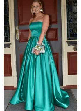 2021 Elegant A Line Elastic Satin Jade Strapless Prom Dresses With Pockets