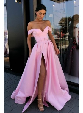 2021 Charming A Line Pink Off Shoulder Satin Sweetheart Side Slit Prom Dresses