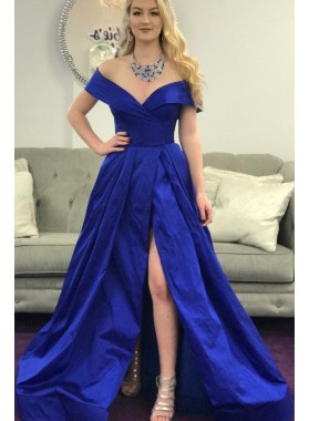 Amazing A Line Off Shoulder Royal Blue Side Slit Satin Long Prom Dresses 2021