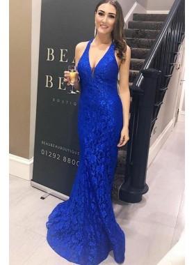 Amazing Royal Blue Halter Lace Sheath V Neck Backless 2019 Prom Dresses