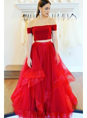 2021 New Designer A Line Red Two Pieces Tulle Off Shoulder Ruffles Prom Dresses