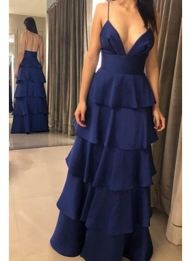 2020 New Arrival A Line Chiffon Dark Navy Sweetheart Spaghetti Straps Ruffles Prom Dresses