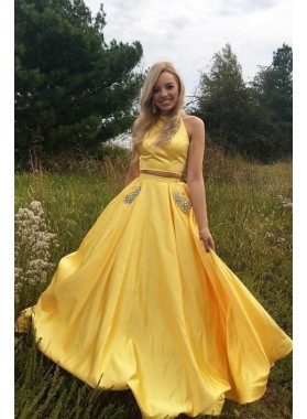 2021 Elegant A Line Satin Yellow Two Pieces Prom Dresses With Pockets