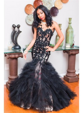 2021 Sexy Black Mermaid Sweetheart Ruffles Prom Dresses With Appliques