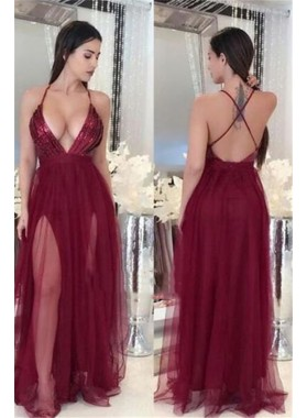 Charming A Line Tulle Side Slit Sweetheart Halter Burgundy Criss Cross Backless Prom Dresses 2021