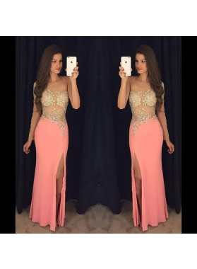 One Shoulder Sheath Elastic Satin Peach Beaded Side Slit See Through Prom Dresses 2020