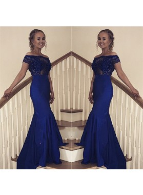 2020 New Arrival Sheath Off Shoulder Royal Blue Short Sleeves Long Prom Dresses
