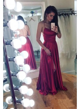 2021 Cheap A Line Backless Lace Up Back Burgundy Elastic Satin Side Slit Prom Dresses