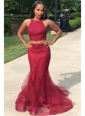 2020 New Designer Burgundy Two Pieces Tulle Mermaid Prom Dresses